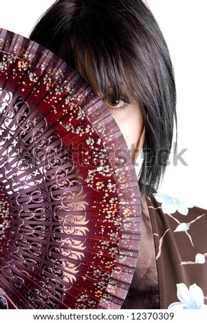 european girl with fan in japanese style - stock photo