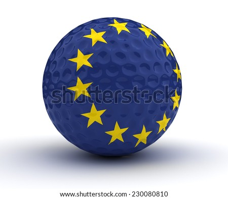 European Golf Ball (Isolated with clipping path) - stock photo