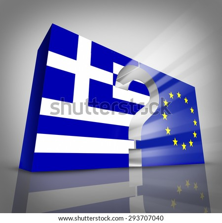 European Greece questions or Greek debt crisis and austerity management concept as a three dimensional blue and white flag and European Union symbol with a question mark in between. - stock photo