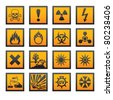 European hazard symbols. Bitmap copy my vector ID 75795436 - stock vector