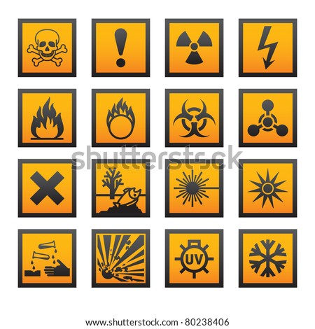 European hazard symbols. Bitmap copy my vector ID 75795436 - stock photo
