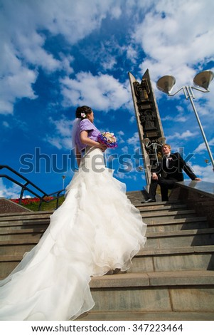 European incredibly passionate newlyweds couple on a walk after the betrothal