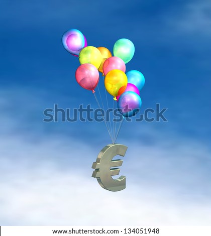European Inflation, rising prices, interest rates, tax rises on sky background - stock photo