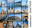 European landmarks collection - stock photo