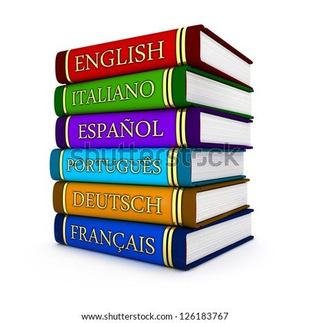 European language textbooks (done in 3d)