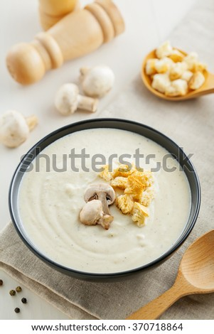 European lunch, cream soup made of mushrooms, delicious food
