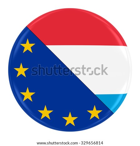 European/Luxembourgian Relations Concept Image - Badge with Split Flags of the European Union and Luxembourg