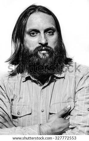 European Man High Contrast Studio Portrait Black And White
