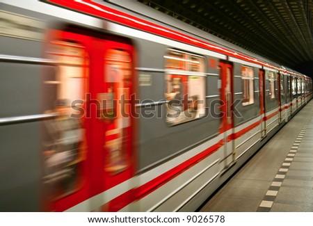European metro transit vehicle in motion - stock photo