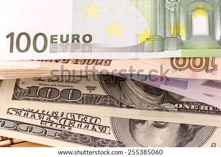 european money, american dollars - stock photo