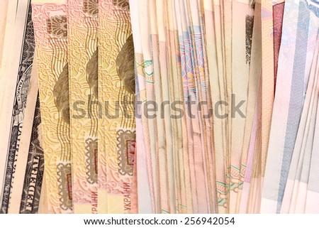 european money and american money, dollars - stock photo