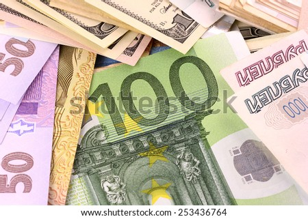 european money and ukrainian hryvnia, american dollars
