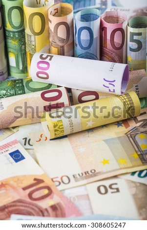 European money background made of banknotes