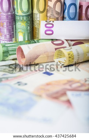 European money background made of banknotes - stock photo
