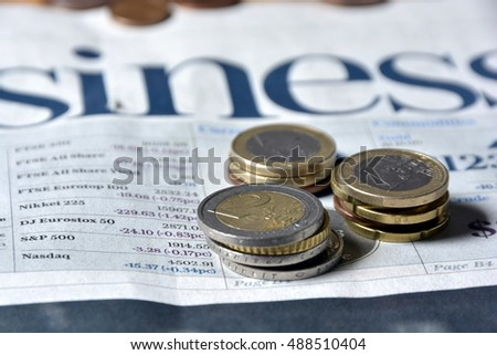 european money closeup on a white business newspaper background