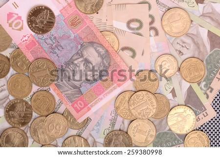 european money, ukrainian hryvnia - stock photo