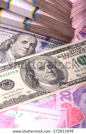 european money, ukrainian money and american dollars - stock photo