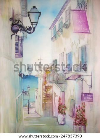 European old town - cityscape, an original modern batik painting on silk - stock photo