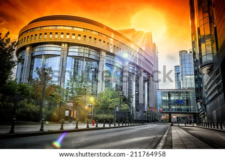European Parliament building at sunset. Brussels, Belgium - stock photo