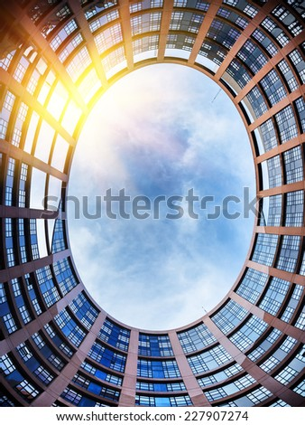 European Parliament building. Strasbourg, France. View from inside - stock photo