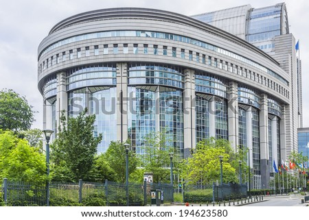 European Parliament towers and European flags. Brussels, Belgium. - stock photo