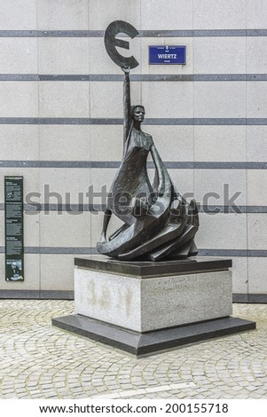 European Parliament towers and sculpture. Brussels, Belgium. - stock photo