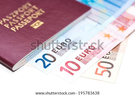 European Passport and Euro on white table