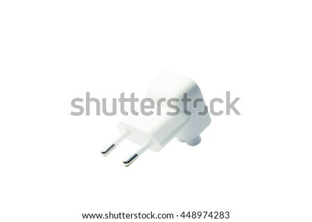 european plug adapter on white background with clipping path.