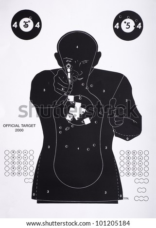 European Police Parcours Target with bullet holes - stock photo