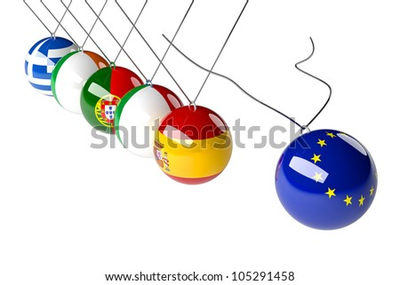 European political concept in 3d. Europe crisis countries in economical conflict. - stock photo