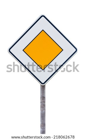 European priority road sign against white background - stock photo