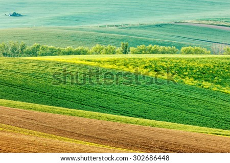 European rural wallpaper - Moravian rolling landscape, Moravia, Czech Republic - stock photo