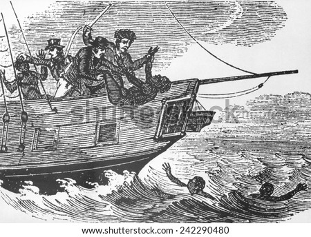 European sailors throwing African captives slaves overboard during Middle Passage to the Americas. Ca. 1750. - stock photo