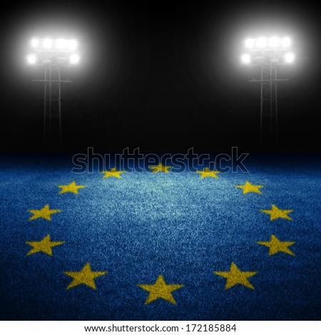 European sports concept with european flag on grass field against illuminated stadium lights - stock photo