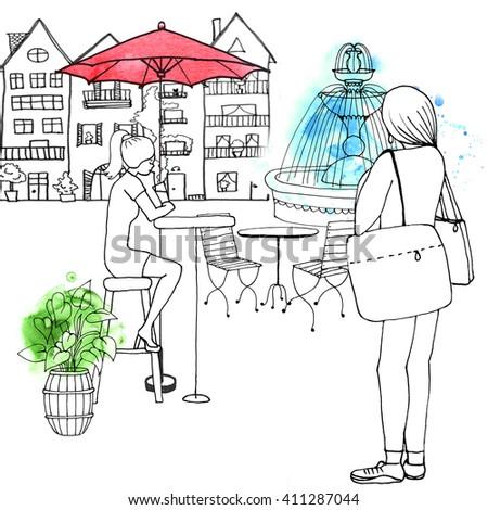 European street cafe old city travel girl - stock photo