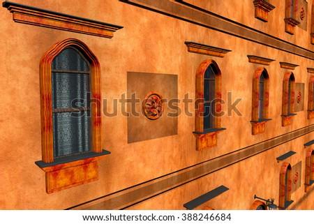 European Style Building Facade 3D Illustration - stock photo
