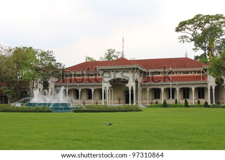European style of old building in grand palace ,Bangkok Thailand - stock photo