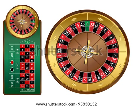 European style roulette wheel and table vector illustration