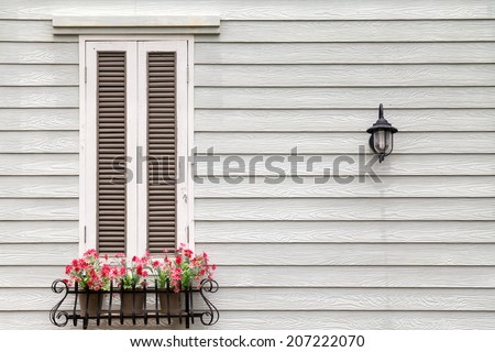 European style window and flower  - stock photo