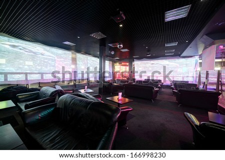 european stylish night club with bright lights