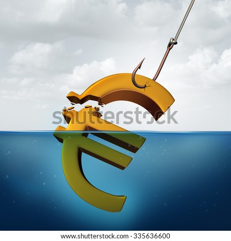 European tax concept and lower returns business idea as a euro currency sign in the water with a fishing hook pulling a portion of the financial symbol as a profit taking metaphor for taxation. - stock photo