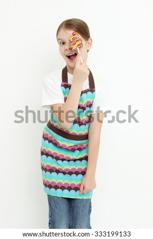 European teen girl holding waffles