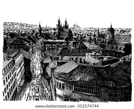 European town roof view. Prague city panorama. Black and white dashed style sketch, line art, drawing with pen and ink. Retro vintage picture.