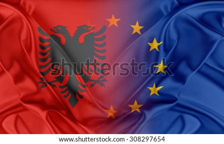 European Union and Albania. The concept of relationship between EU and Albania - stock photo