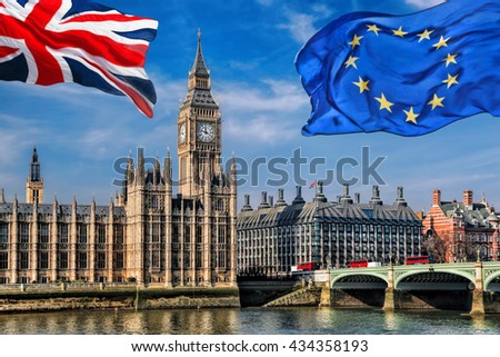 European Union and British Union flag flying against Big Ben in London, England, UK