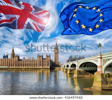European Union and British Union flag flying against Big Ben in London, England, UK, Stay or leave, Brexit - stock photo