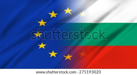 European Union and Bulgaria. The concept of relationship between EU and Bulgaria. - stock photo