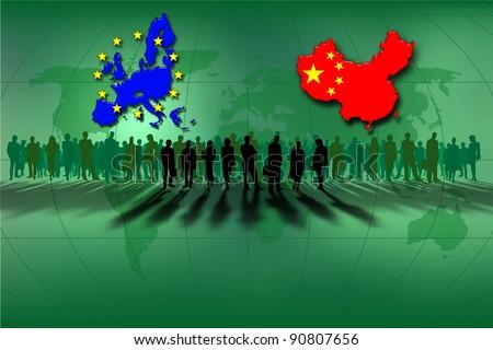 European Union and China: work team - stock photo