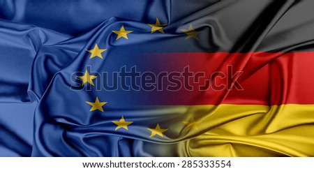 European Union and Germany. The concept of relationship between EU and Germany - stock photo