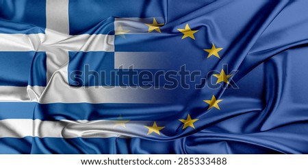 European Union and Greece. The concept of relationship between EU and Greece. - stock photo